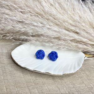 Dodger blue rose polymer clay studs